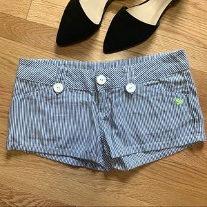 Lost Blue White Striped Shorts 3